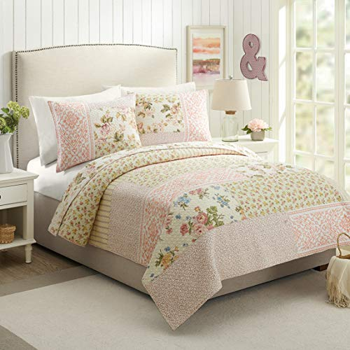 Mary Jane's Home Sweet Blooms Quilt, Full Queen, Pink (Mary Bedding Jane)