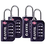 TSA Luggage Locks (4 Pack) - 4 Digit Combination Steel Padlocks - Approved Travel Lock For Suitcases & Baggage (BLACK 4 PACK)
