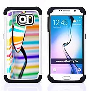 For Samsung Galaxy S6 G9200 - pattern colors stripes orange blue Dual Layer caso de Shell HUELGA Impacto pata de cabra con im??genes gr??ficas Steam - Funny Shop -