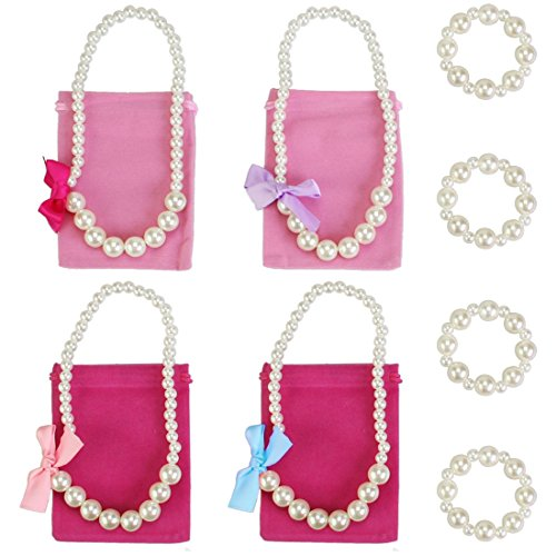 [kilofly Princess Party Favor Jewelry Value Pack, Necklace & Bracelet, 4 Sets] (Princess Ariel Pink Dress Costume)
