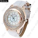 New Arrival ~ Fashion Round Case Quartz Watch Wristwatch Timepiece with Rhinestones Decor for Lady Female – White