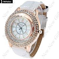 NUEVO llegada ~ Moda Ronda Caso reloj de cuarzo reloj de pulsera Relojes con diamantes de imitación Decoración para Lady hembra, Color blanco