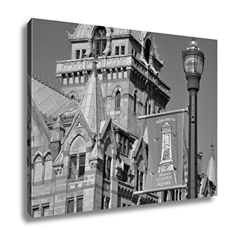 Ashley Canvas Syracuse Savings Bank Building Was Built In 1876 With Gothic Style At Clinton, Kitchen Bedroom Living Room Art, Black/White 24x30, AG6086053 (York Syracuse America Of New Bank)
