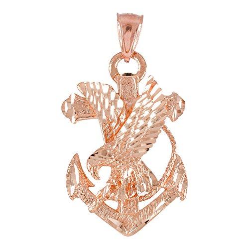 Collier Femme Pendentif 10 Ct Or Rose Ancre Aigle Diamant Coupe (Livré avec une 45cm Chaîne)