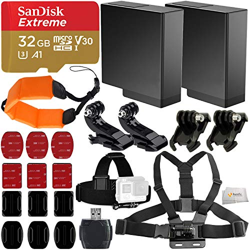 Deluxe Accessory Bundle for GoPro Hero 5, 6, 7 Black Action Camera - Includes: SanDisk Extreme 32GB microSDHC Memory Card, 2X Replacement Batteries, Chest Strap, Head Strap, Adhesive Mounts & More