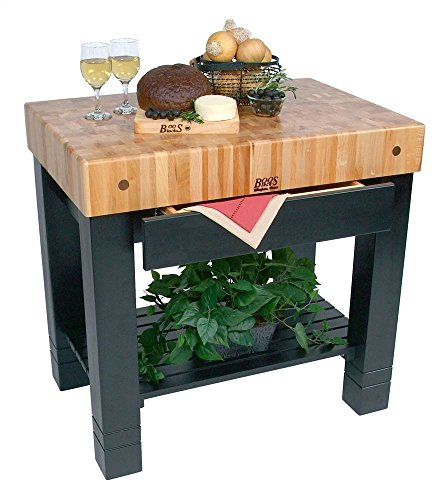 John Boos Cherry Top Table w Black Painted Base