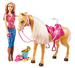 Barbie Feed & Cuddle Tawny Horse & Doll Playset