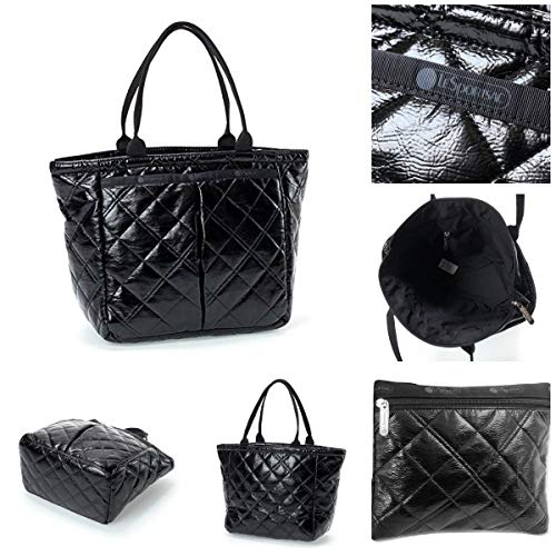 LeSportsac Black Crinkle Quilted Patent Small Everygirl Tote + Cosmetic Bag, Style 7470/Color ()
