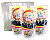 3-Pack BLACK Boba Tapioca Pearls with 1 pack of 50 Boba Wide Straws Bubble Tea Ingredients