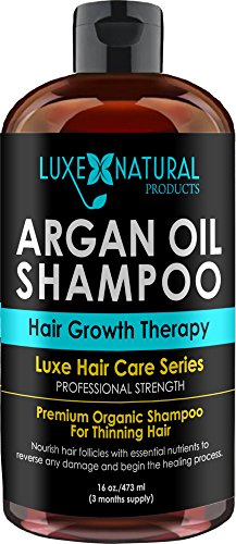 Luxe Natural Products Argan Oil Shampoo Professional Strength - Hair Growth Therapy 16 oz - Hair Loss, Regrowth, Thinning, & Aging - Infused With All Natural for Both Men & Women — 3 Months Supply