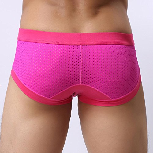 NEARTIME Men's Underwear, Mens Low Waist Boxers Briefs Men Underpants Soft Shorts (M, Hot Pink) … by NEARTIME (Image #2)