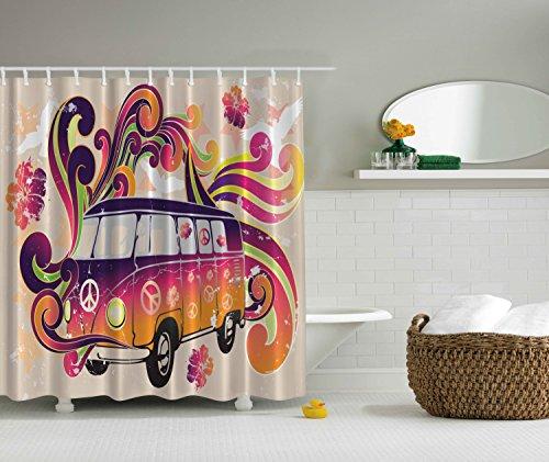 84 Inch Long Shower Curtains Boho Decor Peace Van Funny Minivan Caravan Hippie Hippy Bohemian Cute Minivan Peace Sign Symbol Emblem Paisley Extra Long Explorer Decor Beige Purple Orange Yellow Black (Hippy Van)