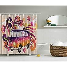 84 Inch Long Shower Curtains Boho Decor Peace Van Funny Minivan Caravan Hippie Hippy Bohemian Cute Minivan Peace Sign Symbol Emblem Paisley Extra Long Explorer Decor Beige Purple Orange Yellow Black