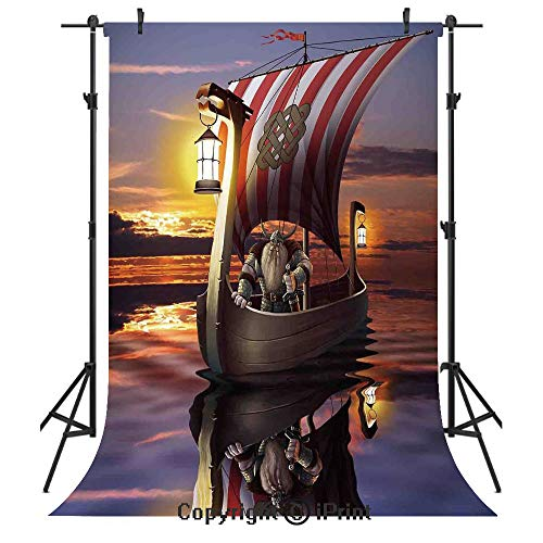 Viking Photography Backdrops,A Warrior with Sword and Helmet in Ship Twilight Barbarian Nordic Scandinavian Art Print,Birthday Party Seamless Photo Studio Booth Background Banner -
