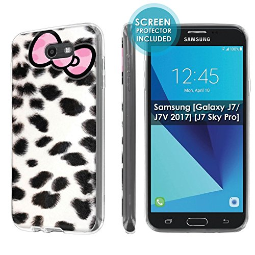 ([Nakedshield] Slim Flexi Case For Samsung [Galaxy Halo] [2017] Galaxy J7 [Galaxy Prime/Perx/Sky Pro] [Clear] Total Armor Rubber Gel Phone Case [Screen Protector]- [Snow Leopard Ribbon] Print Design)