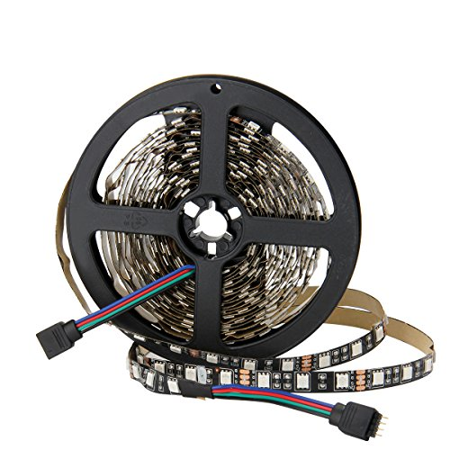 SUPERNIGHT 5050 RGB LED Strip Light, 16.4ft 300leds Flexible Color Changing Rope Lights Non-waterproof [Black PCB]