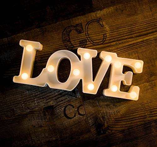 (Foaky LED Marquee Lights Love Shaped LED Plastic Light Up Sign for Night Light Wedding Birthday Party Battery Powered Christmas Lamp Home Bar Decoration)