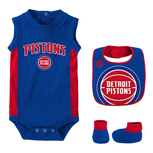 "NBA Newborn & Infant ""Overtime"" Onesie, Bib and Bootie Detroit Pistons-Blue-12 Months"