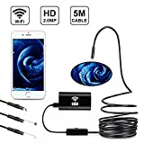 AKASO Wireless Endoscope, 2.0 Megapixels HD 5M Waterproof Wireless WiFi Borescope Inspection Camera for Android and IOS Smartphone, iPhone, Samsung, Tablet and Computers (5M)