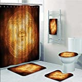 5-piece Bathroom Set-mDem Trap Symbol Logo Ceremy Creepy Ritual ntasy Paranormal Prints decorate the bathroom,1-Shower Curtain,3-Mats,1-Bath towel