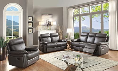 Phenomenal Ac Pacific Ryker Collection Contemporary 3 Piece Upholstered Leather Living Room Set With Reclining Sofa Loveseat And Arm Chair Dark Brown Caraccident5 Cool Chair Designs And Ideas Caraccident5Info
