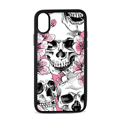 iPhone Skull Head Tide Flower Art Snake Pattern Digital Print TPU Pc Pearl Plate Cover Phone Hard Case Cell Phone Accessories Compatible with Protective Apple Iphonex/xs Case 5.8 Inch