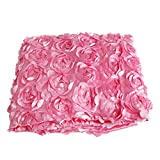 Wedding Carpet,OHTOP 78.74''x 39.4'' 3D Fiber Anti-slip Rose Flower Wedding Stage Floor Long Carpet Aisle Runner Mats Rugs(Pink)