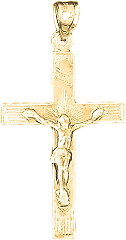 Jewels Obsession Silver INRI Crucifix Pendant 14K Yellow Gold-plated 925 Silver INRI Crucifix Pendant