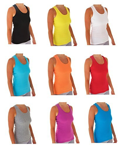 152bb2f5 Emprella Tank Tops for Women, Basic Cotton Ribbed Racerback Tanktop  (Medium, Assorted)