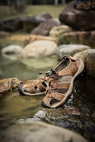 Sommer neue Outdoor-Männer Strand Schuhe Leder Freizeitschuhe koreanische atmungsaktive Wxposed Toe Leder Sandalen Baotou rutschfeste Schwarz