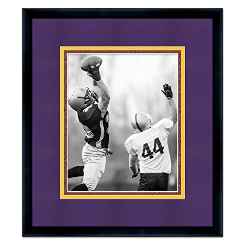 Black Wood Frame For 8x10 Photos with a Triple Mat - Purple, Gold, and Football Textured Mats - Great for Autographs (Purple And Gold Picture Frame)