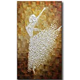 YaSheng Art - Hand-Painted Contemporary Art Ballet Girl Dancers Oil Painting On Canvas Texture Palette Knife Abstract Art Paintings Modern Home Interior Decor Wall Art Picture Ready to Hang 20x40inch
