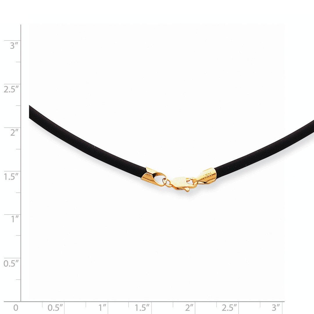 ICE CARATS 14kt Yellow Gold 3mm 16 Inch Clasp Black Rubber Link Cord Chain Necklace Pendant Charm Leather Fine Jewelry Ideal Gifts For Women Gift Set From Heart by ICE CARATS (Image #3)