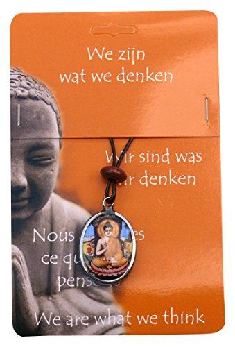 Steengoed Buddha Pendant Sitting, Stone Multi-Colour, 3.5 x 0.2 x 0.5 cm