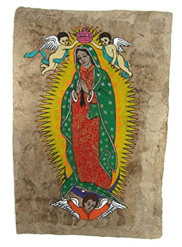 Painting Bark Mexican (HAND PAINTED OUR LADY OF GUADALUPE ON AMATE BARK PAPER FROM MEXICO BEAUTIFUL BRIGHT COLORS Approx. SIZE 24