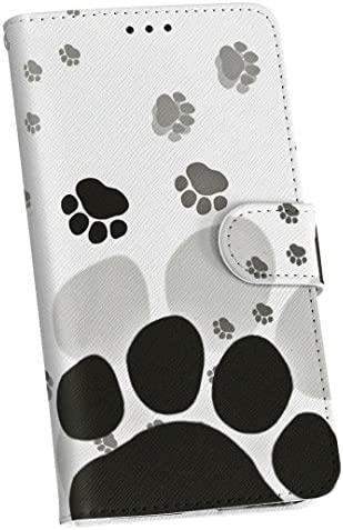 igcase Galaxy Feel SC-04J ケース カバー 手帳 スマコレ 手帳型 レザー 手帳タイプ 革 スマホケース スマホカバー 010216 動物 足跡 白 黒 sc04j-010216-nb