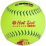 Worth Usssa Classic Hot Dot Leather Slow Pitch Softballs Pro Tac 12 Ball Pack