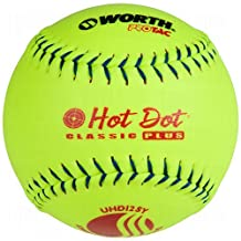 Worth Usssa Classic Hot Dot Leather Slow Pitch Softballs Pro Tac 12 Ball Pack