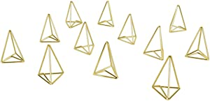 Koyal Wholesale Modern Metal Geometric Triangle Wedding Place Card Holders, Set of 12 Gold Table Number Holders for Wedding, Bridal Shower, Rehearsal Dinner, Thanksgiving, Christmas, Home Decor