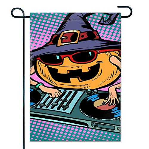 amiuhoun Outdoor Holiday Welcome Home Garden House Flag Fabric 12 x 18 inches - Halloween Pumpkin Dj