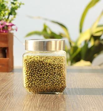 WJIANLL Botella de vidrio del tanque sellado de miel-cocina alimentos té tanque de almacenamiento de humedad admitir vaso de leche en polvo,9*10cm: ...