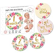 Baby Girl Monthly Milestone Stickers | Set of 20 Floral Gold Stickers | Birth to 12 Months + 8 Bonus Achievement Stickers | Best