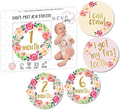 (Baby Girl Monthly Milestone Stickers | Set of 20 Floral Gold Stickers | Birth to 12 Months + 8 Bonus Achievement Stickers | Best)