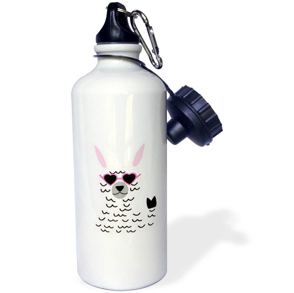 3dRose AllSouthernDesignTees - Zoo Animals - Cool fun hippie llama holding up peace sign and wearing heart glasses - 21 oz Sports Water Bottle (wb_280221_1)