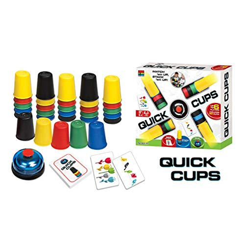 Quick Cups For Kids, LANDOR Classic Quick Stacking Cup Game for Kids Flying Stack Cup Parent-Child Interactive Toy Quick Cups Game with 24 Picture Cards, 30 Cups (6 Sets of 5 Colors Each), Bell & Inst