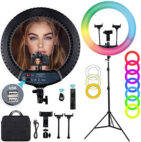 18 inch RGB Ring Light AMAZKER LED Ring Light with Stand and Phone Holder 25 Color Modes 3000-6000K Dimmable 10 Brightness Level Up to 5000 Lux Circle Light for Live Stream/Makeup/YouTube/Vlog/Selfie