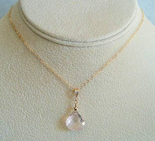 (Cute Pink Rose Quartz Briolette Pendant 18 Inch Gold Filled Necklace Gift Idea)