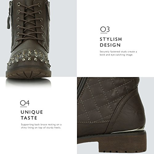 Card Punky Credit Brown Buckle Hiking Ankle DailyShoes Quilted Lace Combat Up High Military Women's Boots Exclusive Pocket x77aOZ8