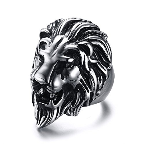 - LILILEO Jewelry Stainless Steel Personality Punk Lion Head Ring For Men's Rings