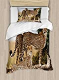 Ambesonne Africa Duvet Cover Set Twin Size, Cheetahs Mother and Two Young Baby Looking for Food Dangerous Exotic Animals, Decorative 2 Piece Bedding Set with 1 Pillow Sham, Tan Black